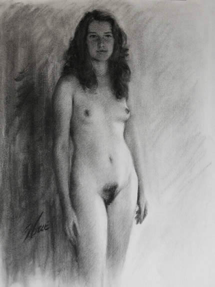 Standing nude charcoal drawing