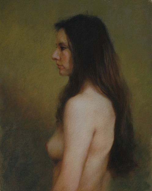 profile female nude pastel painting