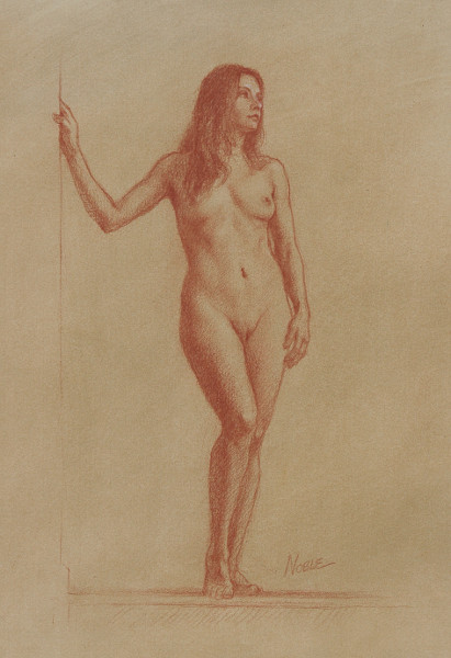nude full frontal female colored pencil drawing sanguine