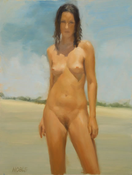 full frontal nude female beach painting