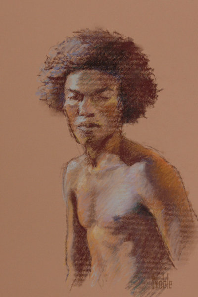 male torso black african american life drawing semi-nude