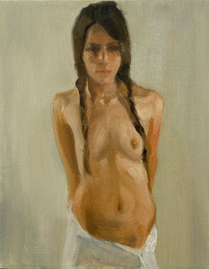 femal topless nude oil painting girl hand behind back with white skirt and pigtails