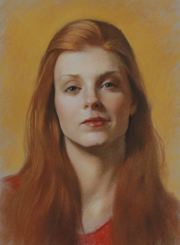 redhead with red shirt pastel portrait sample