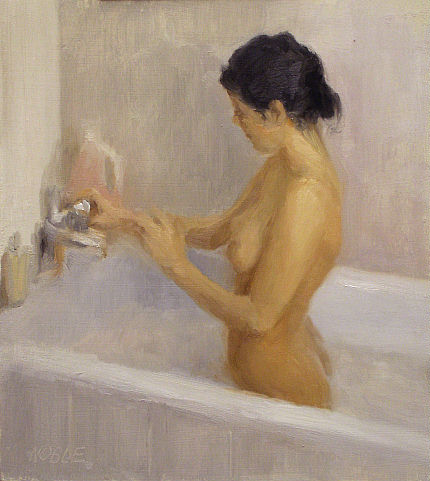 female nude oil painting  bathtube black hair